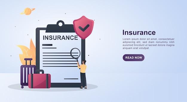 Concepto de ilustración de seguro con el símbolo de seguridad.