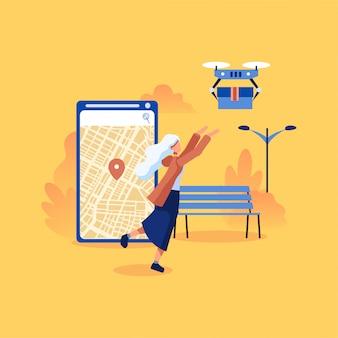 Concepto de ilustración de servicio de entrega de drones