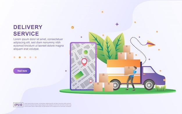 Concepto de ilustración del servicio de entrega con pequeñas personas.