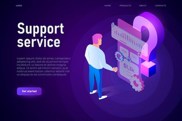 Concepto de ilustración de servicio de soporte. el hombre interactúa con la pantalla de nube de preguntas frecuentes. gran signo de interrogación isométrica