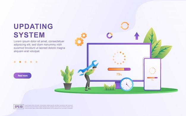 Concepto de ilustración del sistema de actualización. actualización del sistema mejora cambio nueva versión del software, proceso de sincronización de datos y programa de instalación