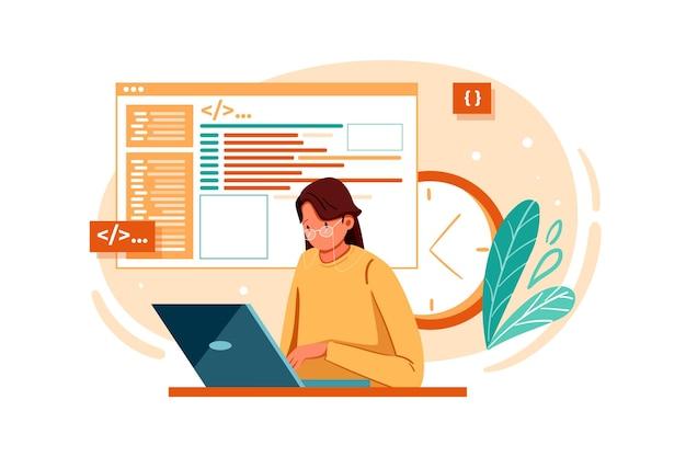 Concepto de ilustración de sitio web de codificación de desarrollador