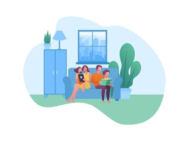 Concepto de ilustración sobre pasar tiempo de vacaciones con la familia en casa
