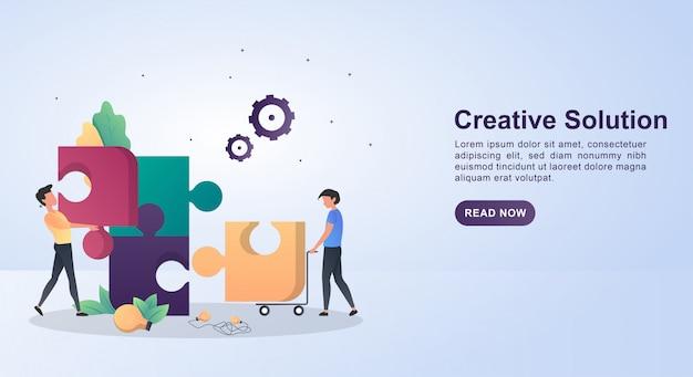 Concepto de ilustración de solución creativa con la persona que hizo el rompecabezas.