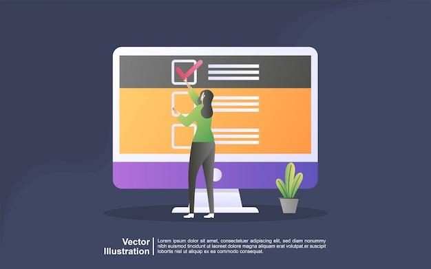 Concepto de ilustración de soporte en línea. concepto de ilustración de encuesta de preguntas y respuestas