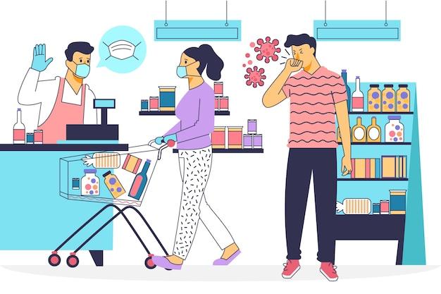 Concepto de ilustración de supermercado coronavirus