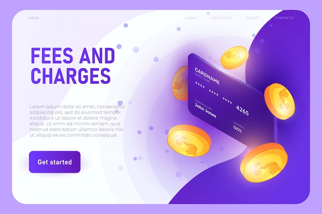 Concepto de ilustración de tarifas y cargos, plantilla de página de destino. tarjeta bancaria con modelo 3d de monedas
