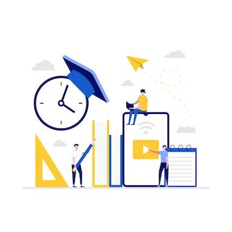 Concepto de ilustración de tecnología de educación a distancia. los estudiantes estudian en línea en la universidad o el campus universitario.