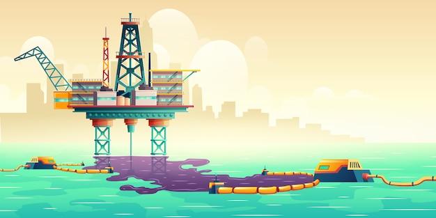 Concepto de ilustración de tecnología de liquidación de derrames de petróleo