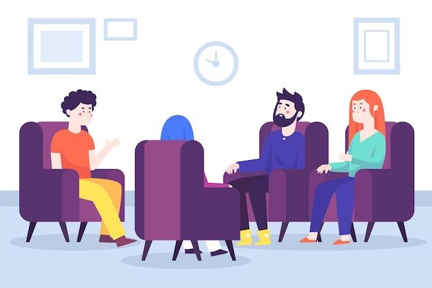 Concepto de ilustración de terapia de grupo