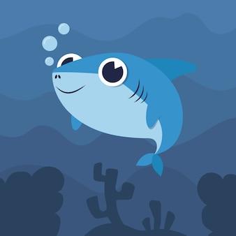 Concepto de ilustración de tiburón bebé de diseño plano