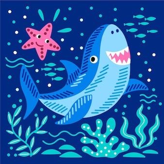 Concepto de ilustración de tiburón bebé