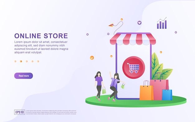 Concepto de ilustración de la tienda en línea con el botón del carrito en la pantalla del teléfono inteligente.