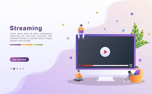 Concepto de ilustración de transmisión de video. la gente reproduce videos en línea, películas, películas.