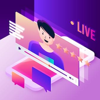 Concepto de ilustración de transmisión en vivo con persona
