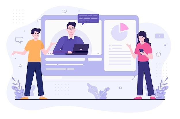 Concepto de ilustración de tutoriales en línea
