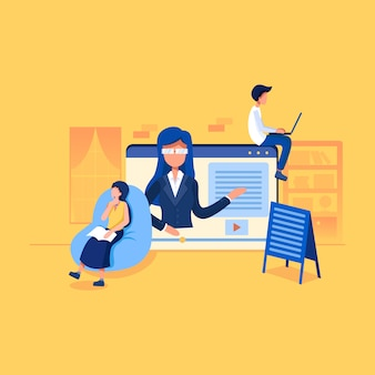 Concepto de ilustración de tutoriales en video