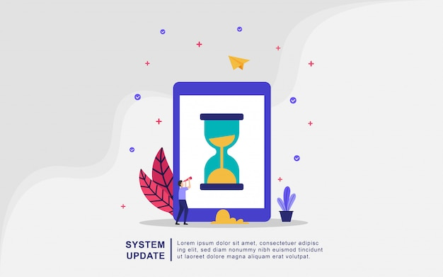 Concepto de ilustración de vector de actualización del sistema, sistema de operación de actualización de personas.