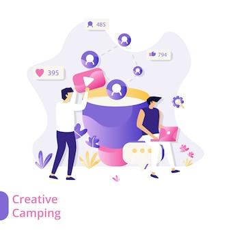 Concepto de ilustración de vector de camping creativo de página de aterrizaje, hombres que usan computadoras portátiles