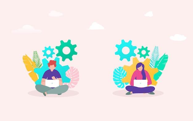Concepto de ilustración de vector de desarrollo de flujo de trabajo de innovación, joven y mujer trabajando en equipo portátil
