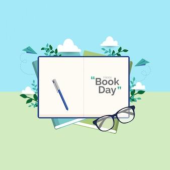 Concepto de ilustración de vector de día de libro mundial