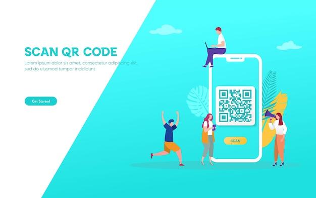 Concepto de ilustración de vector de escaneo de código qr, la gente usa teléfonos inteligentes y escanea el código qr para pago
