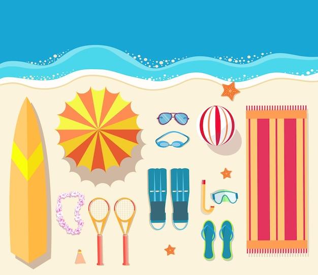 Concepto de ilustración de vector de fondo de tiempo de vecetion de verano