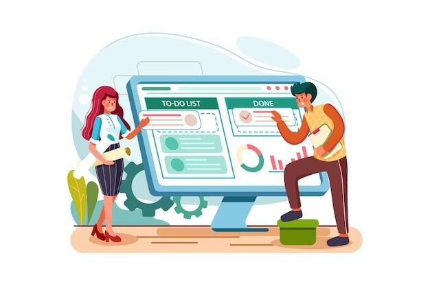 Concepto de ilustración de vector de gestión de proyectos