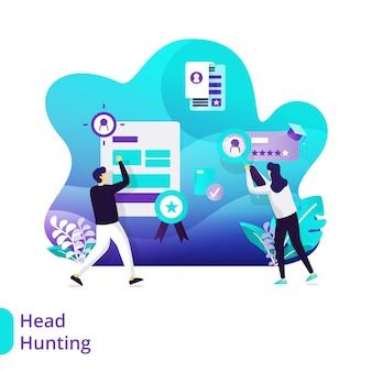 Concepto de ilustración de vector de headhunting de página de destino