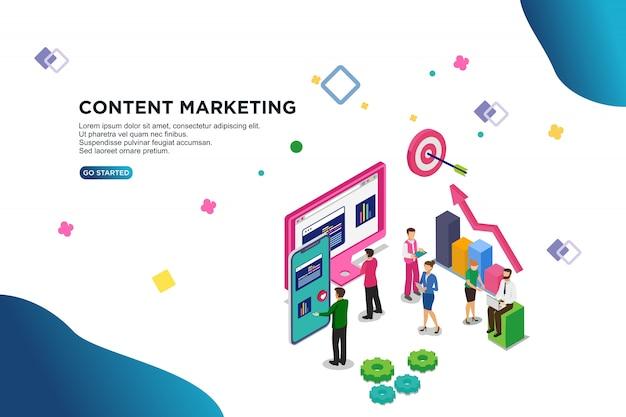 Concepto de ilustración de vector isométrico marketing de contenido