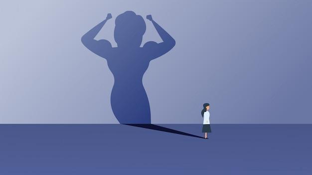Concepto de ilustración de vector de negocio líder mujer ambición