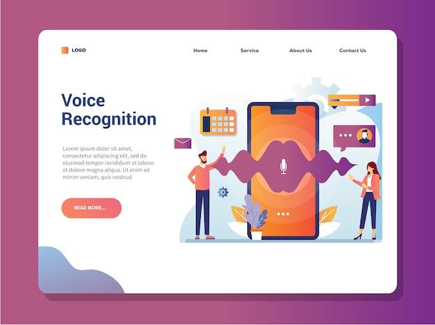Concepto de ilustración de vector de página de destino de tecnología de reconocimiento de voz