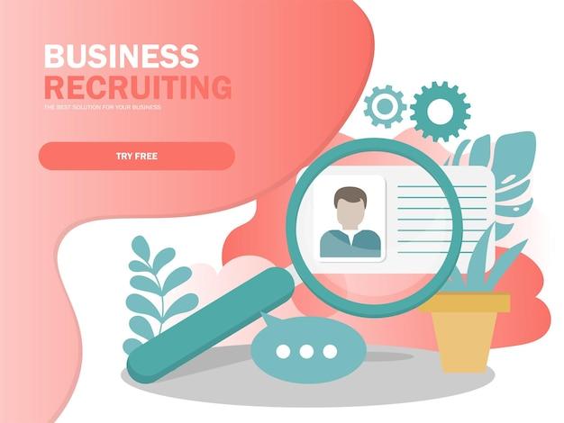 Concepto de ilustración de vector de reclutamiento en línea, empresario analizando currículum, se puede utilizar para página de destino, plantilla, interfaz de usuario, web, aplicación móvil, póster, pancarta, folleto en colores modernos