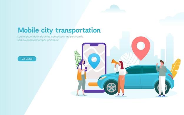 Concepto de ilustración de vector de transporte de ciudad móvil, coche compartido en línea con personaje de dibujos animados y teléfono inteligente