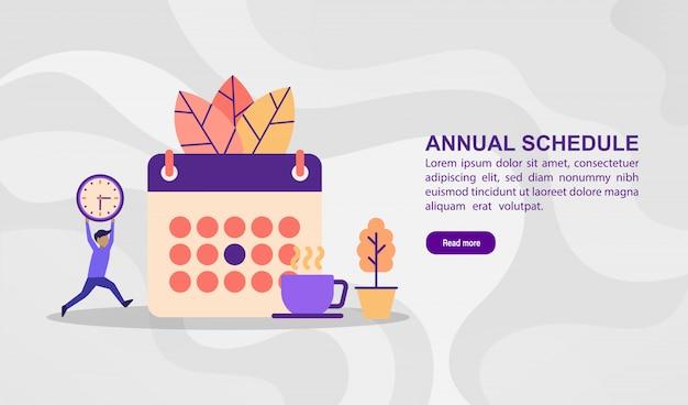 Concepto de ilustración vectorial de horario anual. ilustración moderna conceptual para plantilla de banner