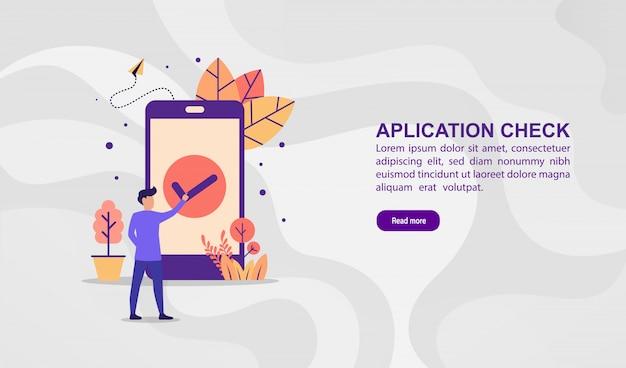 Concepto de ilustración vectorial de verificación de la aplicación. ilustración moderna conceptual para plantilla de banner