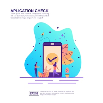 Concepto de ilustración vectorial de verificación de aplicación