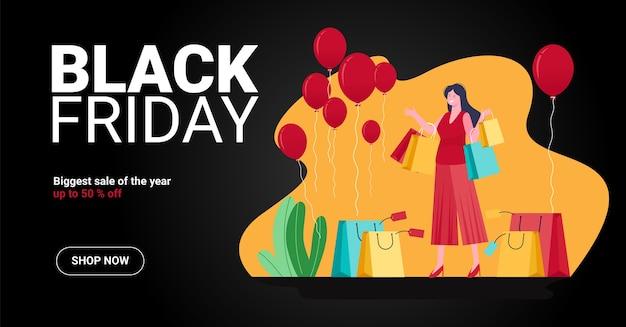 Concepto de ilustración de venta de viernes negro, 2 personas y empujando el carrito de compras felizmente debido a muchos descuentos