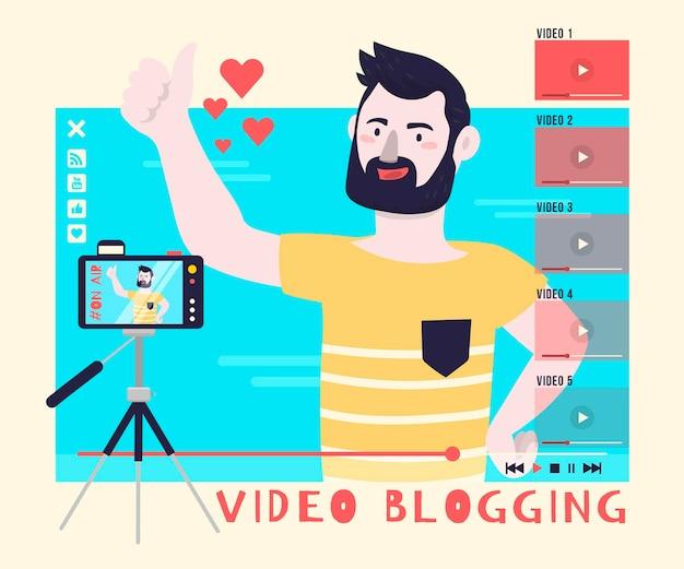 Concepto de ilustración de video blogs