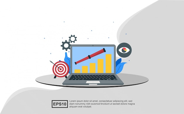 Concepto de ilustración de visión empresarial para alcanzar el objetivo.