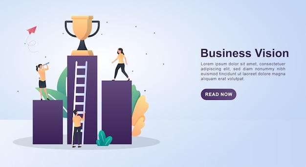 Concepto de ilustración de la visión empresarial con la persona que está mirando hacia adelante.