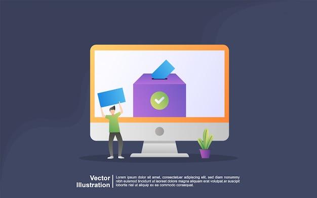 Concepto de ilustración de votación en línea y elección. sistema de internet de votación electrónica