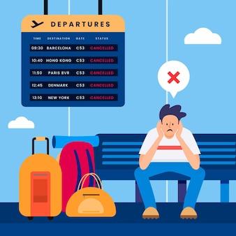 Concepto de ilustración de vuelo cancelado