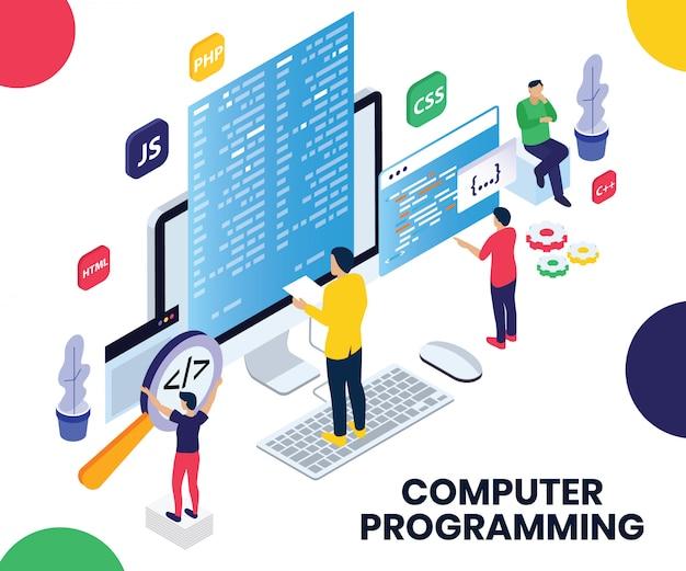 Concepto de ilustraciones isométricas de la programación de computadoras