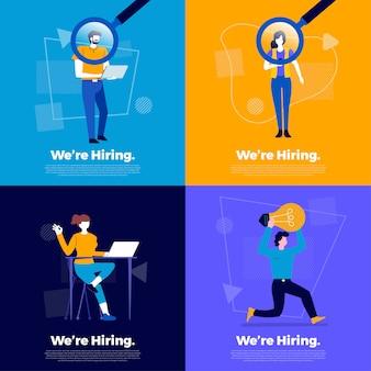 Concepto de ilustraciones que estamos contratando. anuncie la búsqueda de empleados y reclute trabajadores para la empresa. ilustrar.