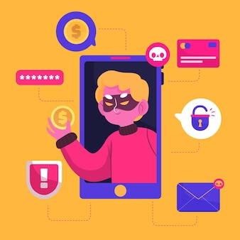 Concepto ilustrado de actividad hacker