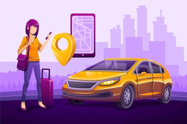 Concepto ilustrado de la aplicación de taxi
