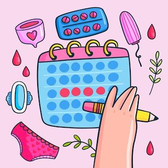 Concepto ilustrado del calendario menstrual