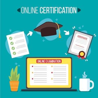 Concepto ilustrado de certificación en línea
