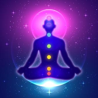 Concepto ilustrado de chakras con puntos focales